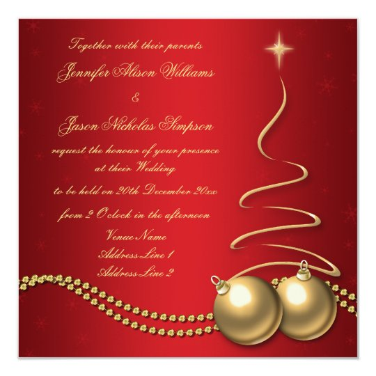 a27161b0d980 Wedding Invitation Red with Gold Christmas Tree