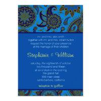 Wedding Invitation rich blue paisley