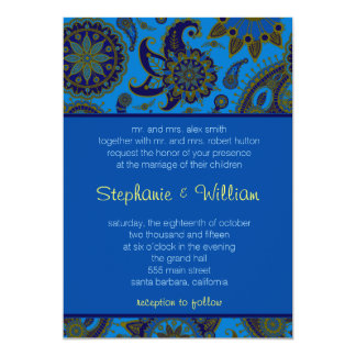 Wedding Invitation rich blue paisley