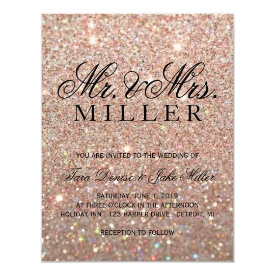 Wedding Invitation Rose Gold Glit Fab Zazzlecom