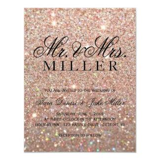 Wedding Invitation - Rose Gold Glitter Fab