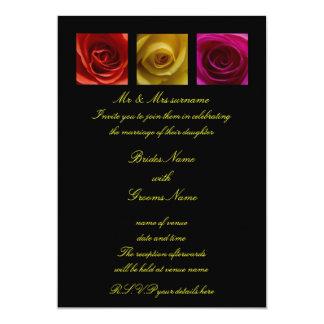Wedding Invitation - Roses pink yellow orange