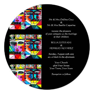 Wedding Invitation (Round) Mexican Couple