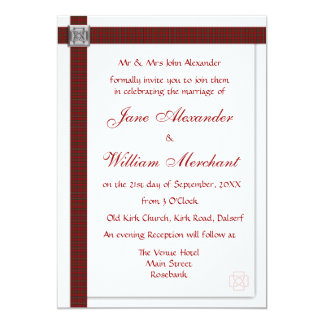 Wedding Invitation Royal Stewart Scottish Tartan