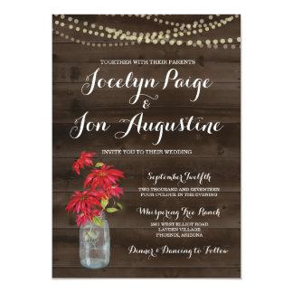 Wedding Invitation | Rustic Christmas Poinsettia