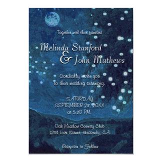 Wedding Invitation   Rustic Country Blue Night