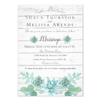 Wedding Invitation - Rustic Teal Succulent
