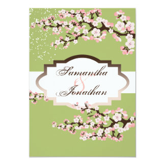 "Wedding Invitation Sage Green Cherry Blossom 5"" X 7"" Invitation Card"