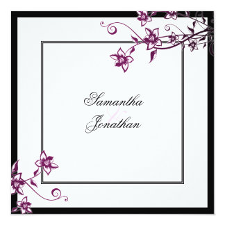Wedding Invitation Sangria & White Elegant Floral