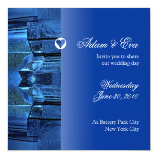 "Wedding Invitation Sapphire Blue Gemstone Mosaic 5.25"" Square Invitation Card"