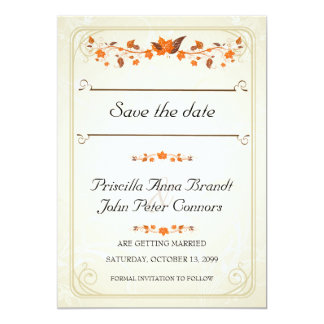 Wedding Invitation Save The Date,Fall Leaves Theme