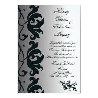 Wedding Invitation Silver and Black