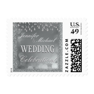 Wedding Invitation | Silver Glitter Postage