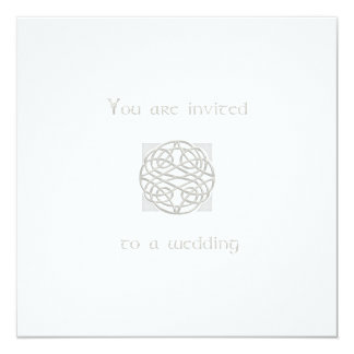 Wedding Invitation Silver on White Celtic Knot