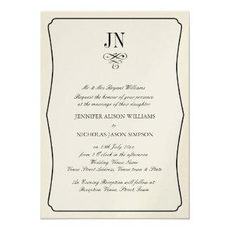 Wedding Invitation Simple Black Border and Scroll