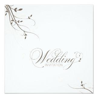 """Wedding Invitation Simple Elegance Leafy Beige 5.25"""" Square Invitation Card"""