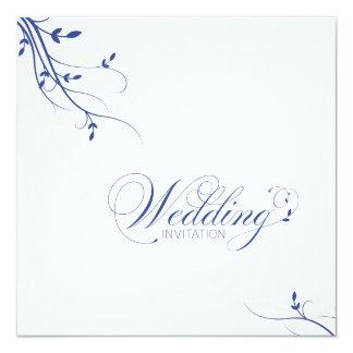"Wedding Invitation Simple Elegance Leafy Blue 5.25"" Square Invitation Card"