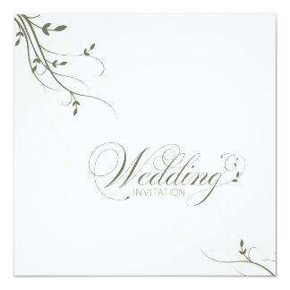 "Wedding Invitation Simple Elegance Leafy Green 5.25"" Square Invitation Card"