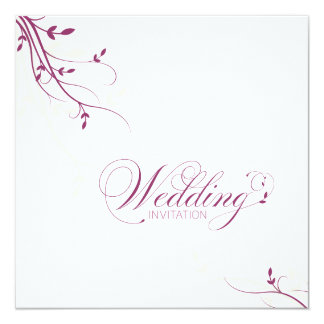 """Wedding Invitation Simple Elegance Leafy Pink 5.25"""" Square Invitation Card"""