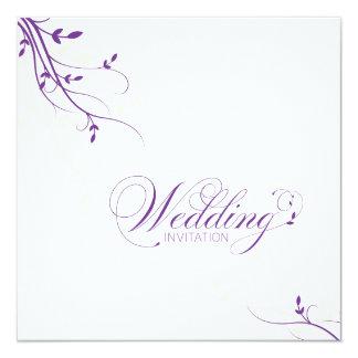 """Wedding Invitation Simple Elegance Leafy Purple 5.25"""" Square Invitation Card"""