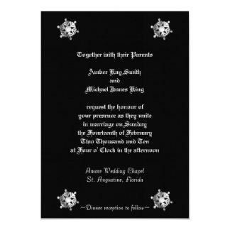 Wedding invitation snowflakes black two side print