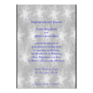 Wedding invitation snowflakes gray two side print