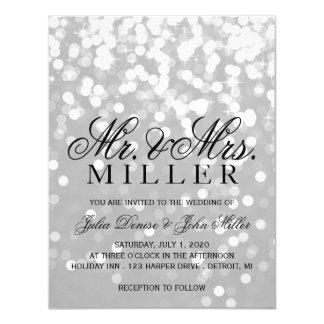 Wedding Invitation - Sparkling Couple Grey Silver