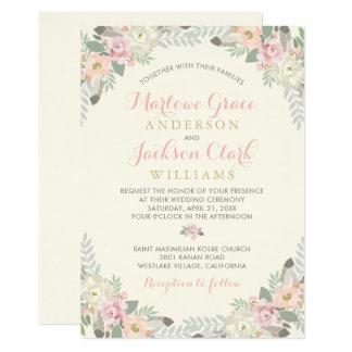 Wedding Invitation   Spring Vintage Boho