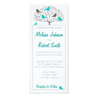 Wedding Invitation Tall Vertical Blue Bird & Tree