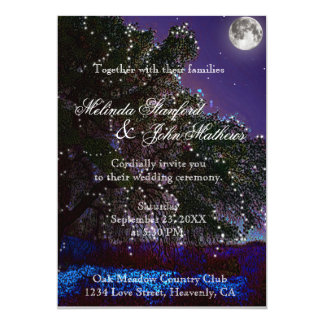 Wedding Invitation   Tree Lights and Moon