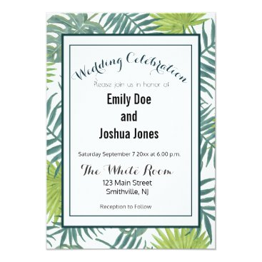 Beach Themed Wedding Invitation Tropical Template Custom Palm