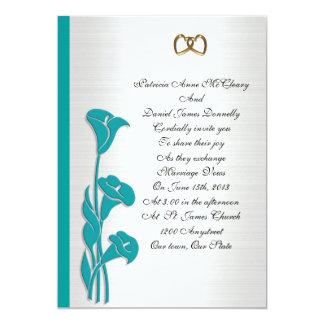 """Wedding Invitation turquoise calla lily 5"""" X 7"""" Invitation Card"""