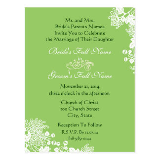 Wedding Invitation Vintage Fl-owers Green & White Post Cards