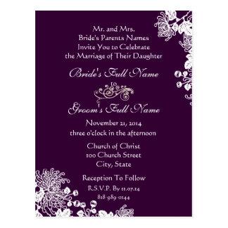 Wedding Invitation Vintage Flowers Grape & White Postcards