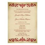 Wedding Invitation Vintage Leaf Scroll in Burgundy