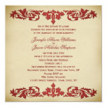 Wedding Invitation Vintage Leaf Scroll in Neutrals