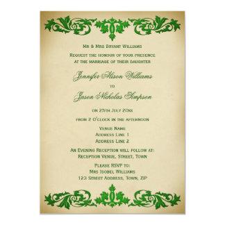 Wedding Invitation Vintage Leaf Scrolls in Green