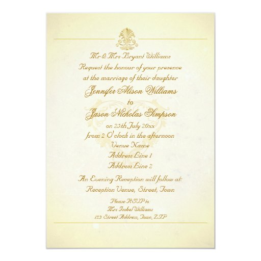 Wedding Invitation Vintage Parchment Paper Style