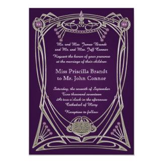 Wedding invitation violet & gold