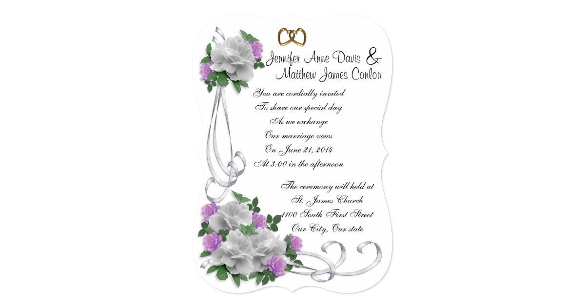 Purple Rose Wedding Invitations: Wedding Invitation White And Lavender Roses
