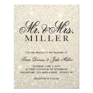 Wedding Invitation - White Gold Glitter Fab