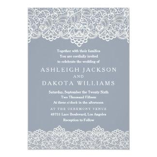 Wedding Invitation | White Lace on Slate Blue