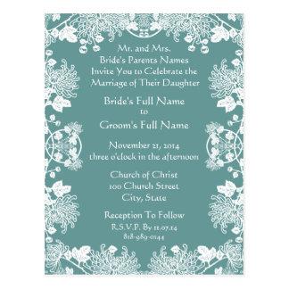 Wedding Invitation White On Dark Turquoise Vintage Postcards