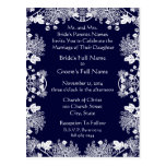 Wedding Invitation White On Midnight Blue Vintage Post Cards