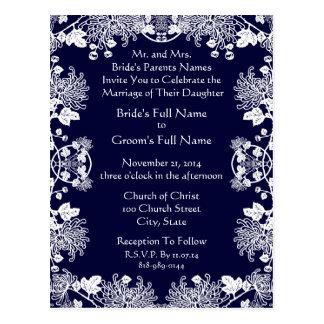 Wedding Invitation White On Midnight Blue Vintage Postcard