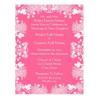 Wedding Invitation White On Pink Vintage Flowers Post Card
