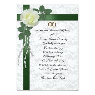 "Wedding Invitation  white rose, green ribbons 5"" X 7"" Invitation Card"