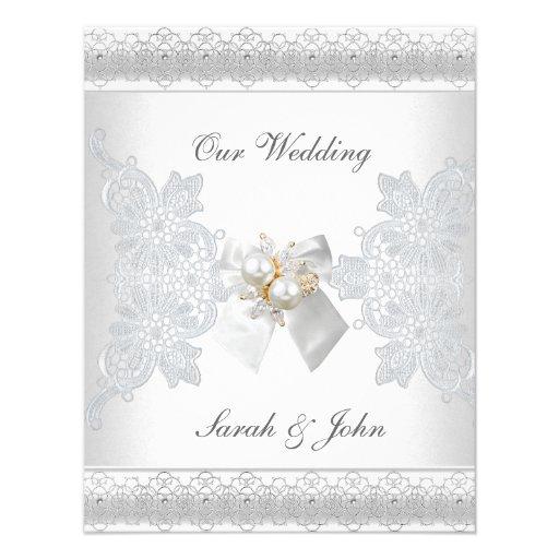 Wedding invitation white silk lace pearl jewel x 5 5 for Pearl wedding invitations