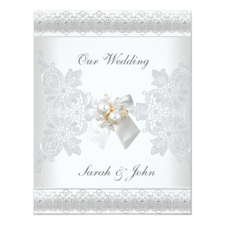 Wedding Invitation White Silk lace pearl jewel