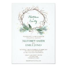 Wedding Invitation Winter Wreath at Zazzle